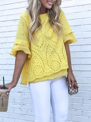 Casual Solid Hollow Out Flared Sleeve Top