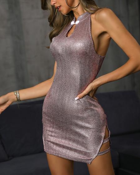 boutiquefeel / Sleeveless Button Detail Bodycon Dress