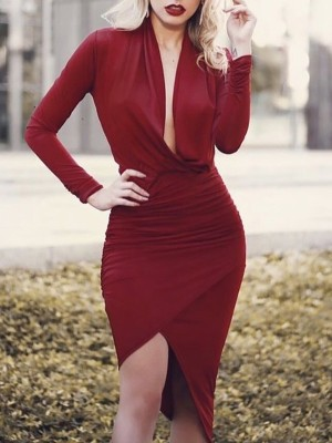 Cowl Neck Ruched Overlap Bodycon Dress