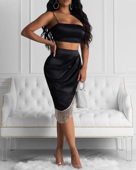 Cami Top & Irregular Tassel Ruched Skirt Sets