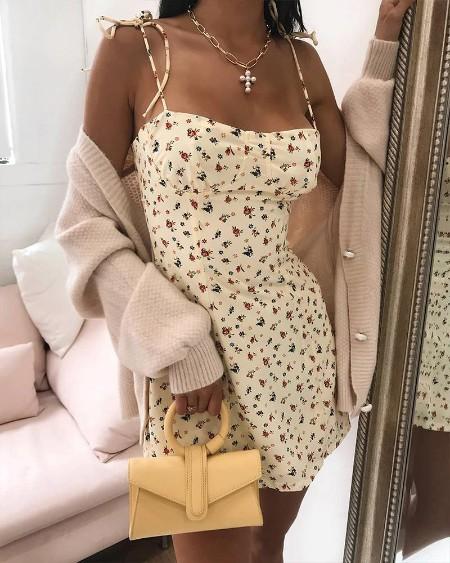 Floral Square Neck Mini Dress