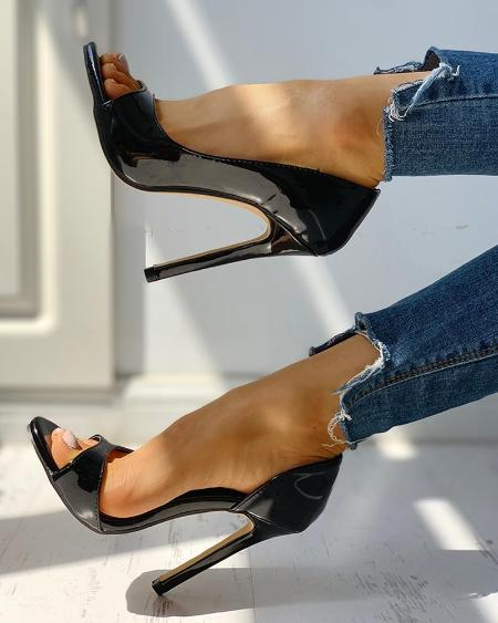 boutiquefeel / Peep Toe Cutout Thin Heels