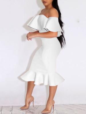 Elegant Women Frilled Off Shoulder Bodycon Dress