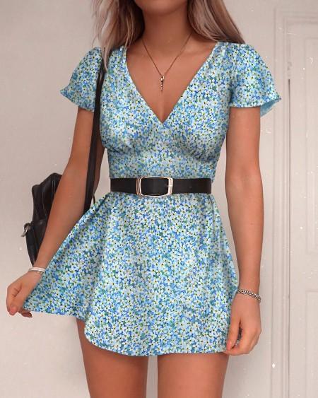 V-Neck Floral Print Mini Dress
