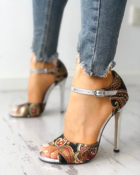 257ad040596 Tribal Print Peep Toe Thin Heeled Sandals ...