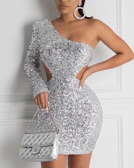 One Shoulder Cutout Sequin Dress