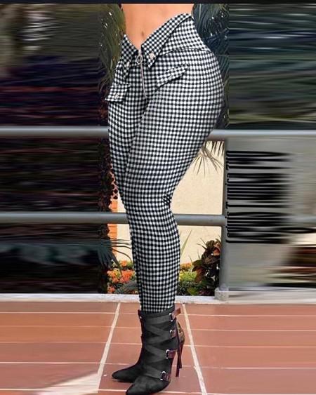 Hounstooth Print Zipper Design Buttoned Casual Pants