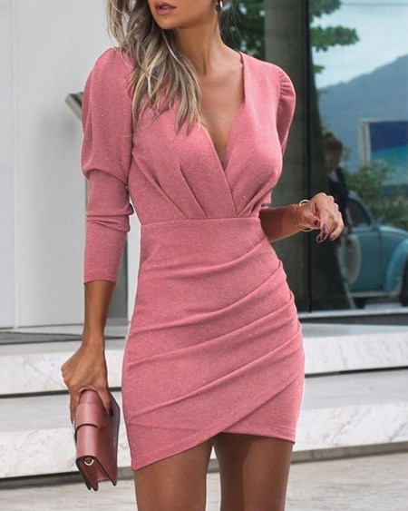 Plunge Ruched Long Sleeve Bodycon Dress