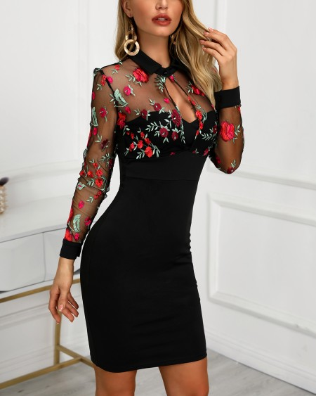 99c6836799212 Sheer Mesh Floral Embroidery Bodycon Dress ...