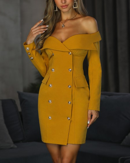 Off Shoulder Double Breasted Blazer Dress