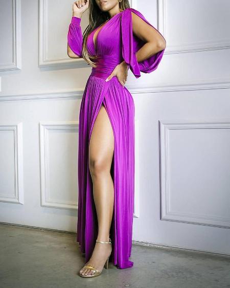 boutiquefeel / Solid High Slit Plunge Ruched Maxi Dress
