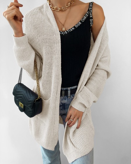 boutiquefeel / Solid Long Sleeve Bubble Sleeve Loose Cardigans