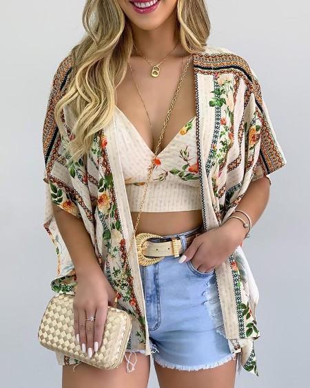 Floral Print Crop Top & Short Sleeve Cardigan Set