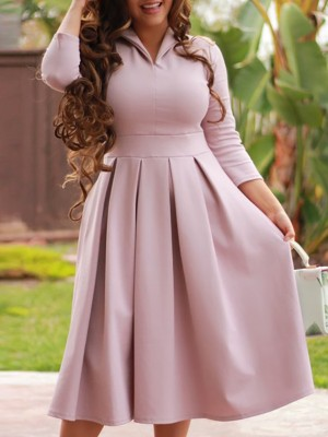 Solid Turn Down Collar Pleated Casual Dress