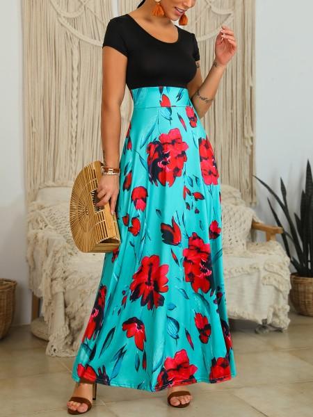Floral Print Short Sleeve Insert Maxi Dress