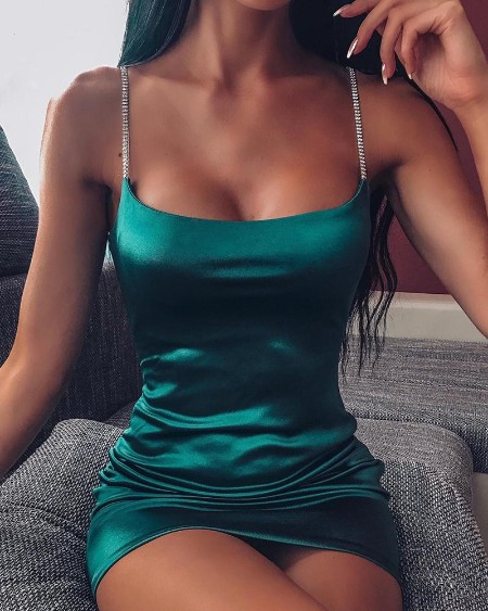 Solid Bodycon Satin Mini Dress
