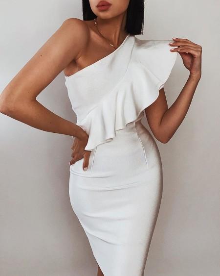 One Shoulder Ruffles Mini Dress