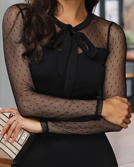 boutiquefeel / Dot Sheer Mesh Insert Fishtail Bodycon Dress