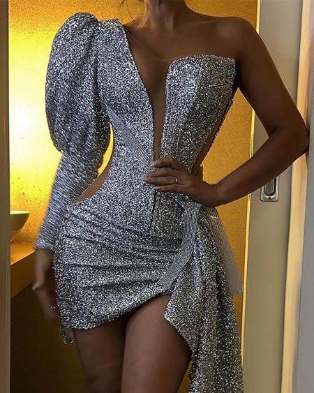 One Shoulder Sequined Assymetric Dress