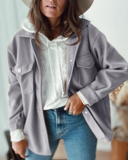 boutiquefeel / Buttoned Pocket Design Long Sleeve Casual Coat