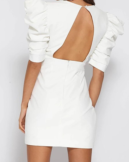Backless Plunge Puffed Sleeve Bodycon Dress