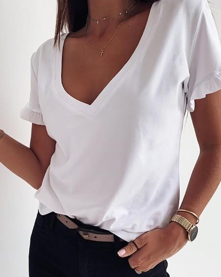 Solid V Neck Frill Hem T-shirt