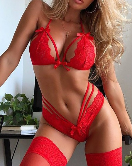 Plain Bowknot Design Lace Trim Lingerie Set
