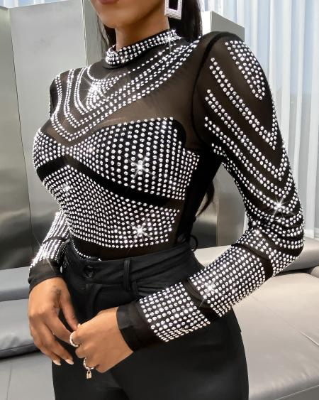 Studded Sheer Mesh Cutout Back Top