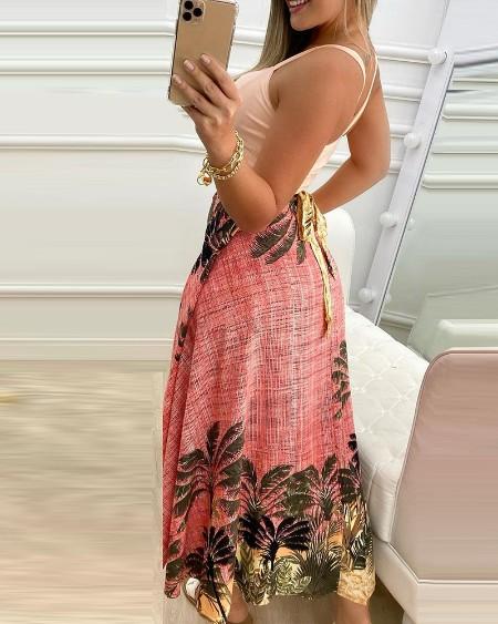 Knotted Crop Top & Tropical Print Slit Skirt Set
