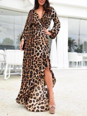 Leopard Belted Irregular Ruffls Hem Maxi Dress