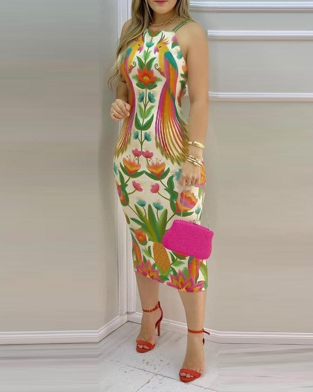 Multicolor Spaghetti Strap Maxi Dress