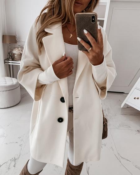 Button Design Long Sleeve Casual Coat