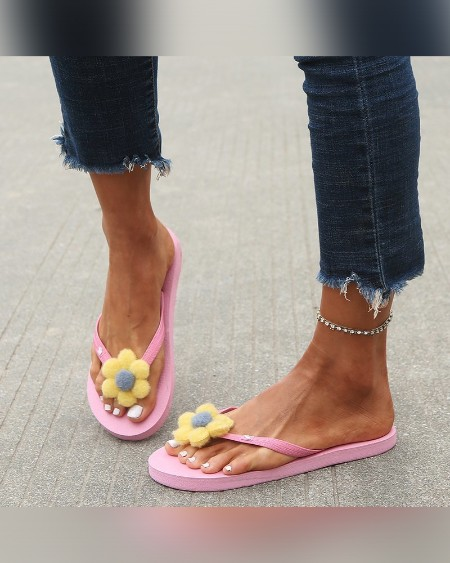 Flower Patch Flip-flop Open-toe Flat Sandals Slippers