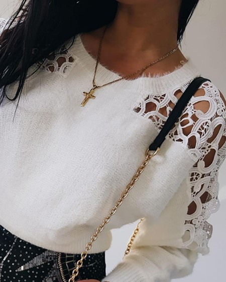 Cutout Lace Fluffy  Long Sleeve Sweater