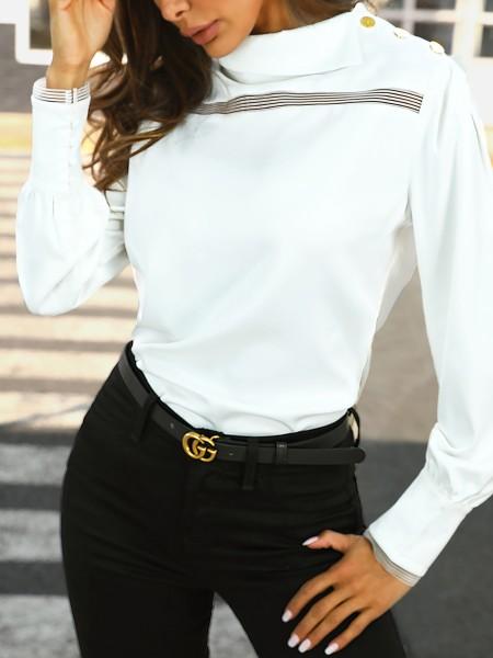 Long Sleeve Asymmetrical Collar Blouse