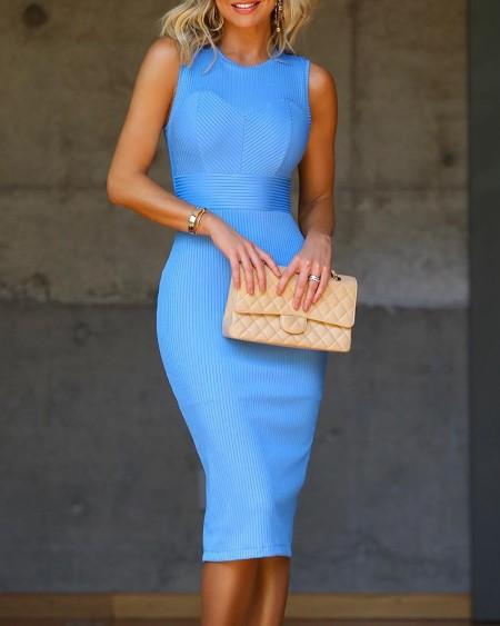 Solid Round Neck Sleeveless Ribbed Bodycon Dress