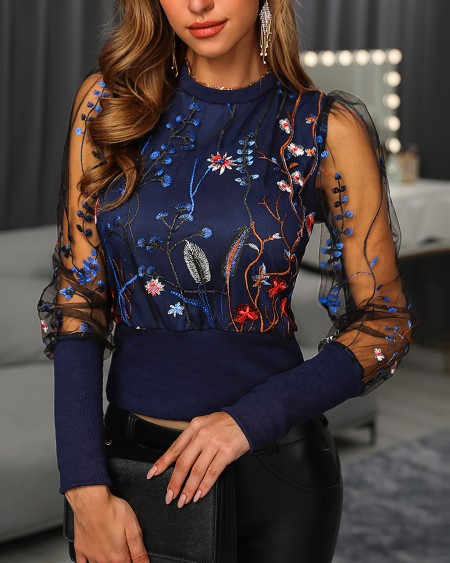 Floral Embroidery Long Sleeve Round Neck Sheer Mesh Insert Blouse