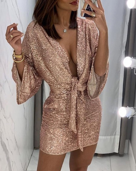 Bell Sleeve Knotted Sequins Dress