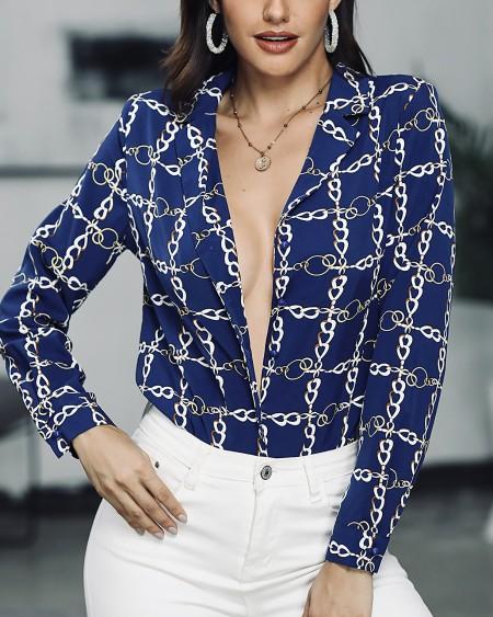 Plunge Chain Print Long Sleeve Shirt