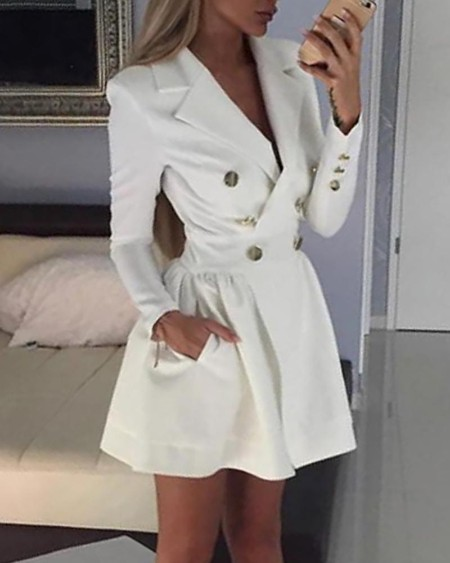 boutiquefeel / Solid Double Breasted Blazer Dress