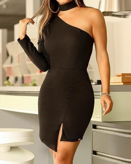 One Shoulder Choker Neck Slit Bodycon Dress