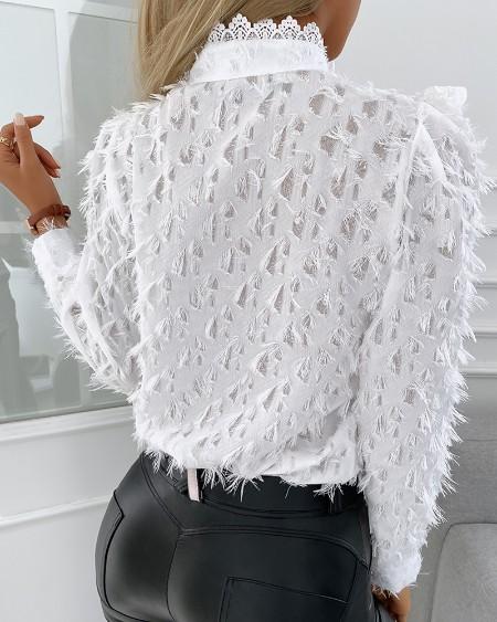 Feather Detail Lace Trim Button Design Top