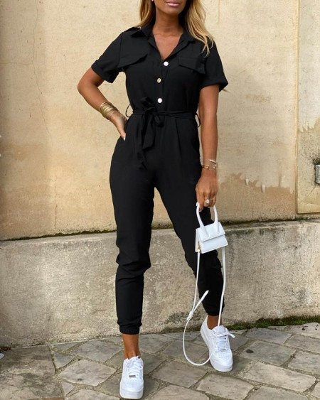 Solid Short Sleeve Bottoned Jumpsuit