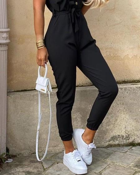 Solid Short Sleeve Bottoned Jumpsuit