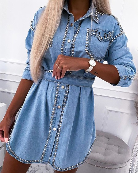 Rivet Pocket Design Long Sleeve Denim Dresses