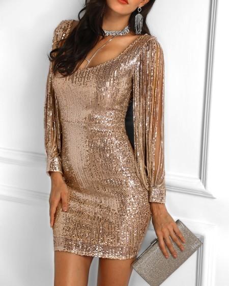 728186262e3ba Tassels Detail Slit Sleeve Sequin Party Dress ...