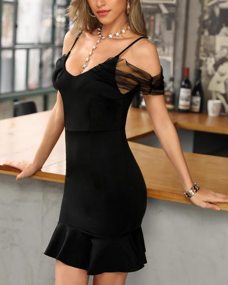boutiquefeel / Cold Shoulder Mesh Insert Pep Hem Bodycon Dress