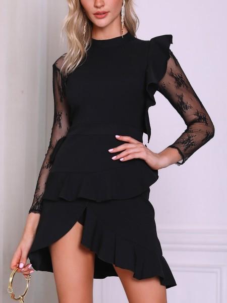 Lace Sleeve Ruffles Detail Irregular Dress