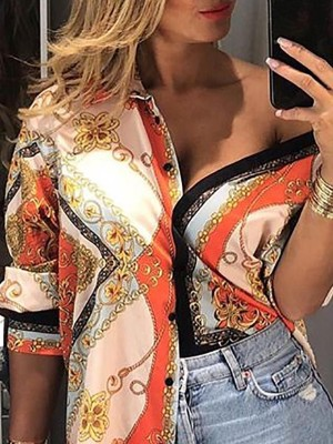 Floral And Chain Print Casual Shirt