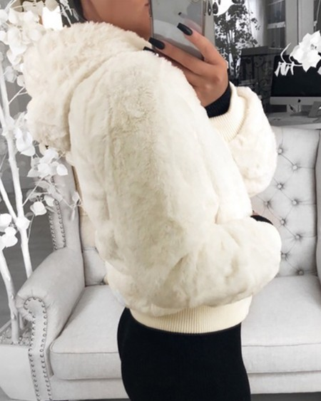 Faux Fur Zipper Pocket Design Coat